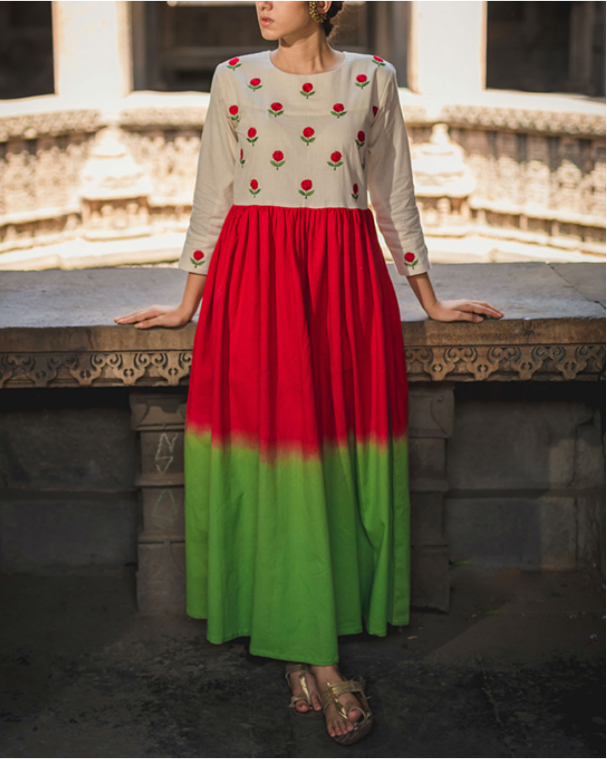 Emerald Crimson Mogra Dress