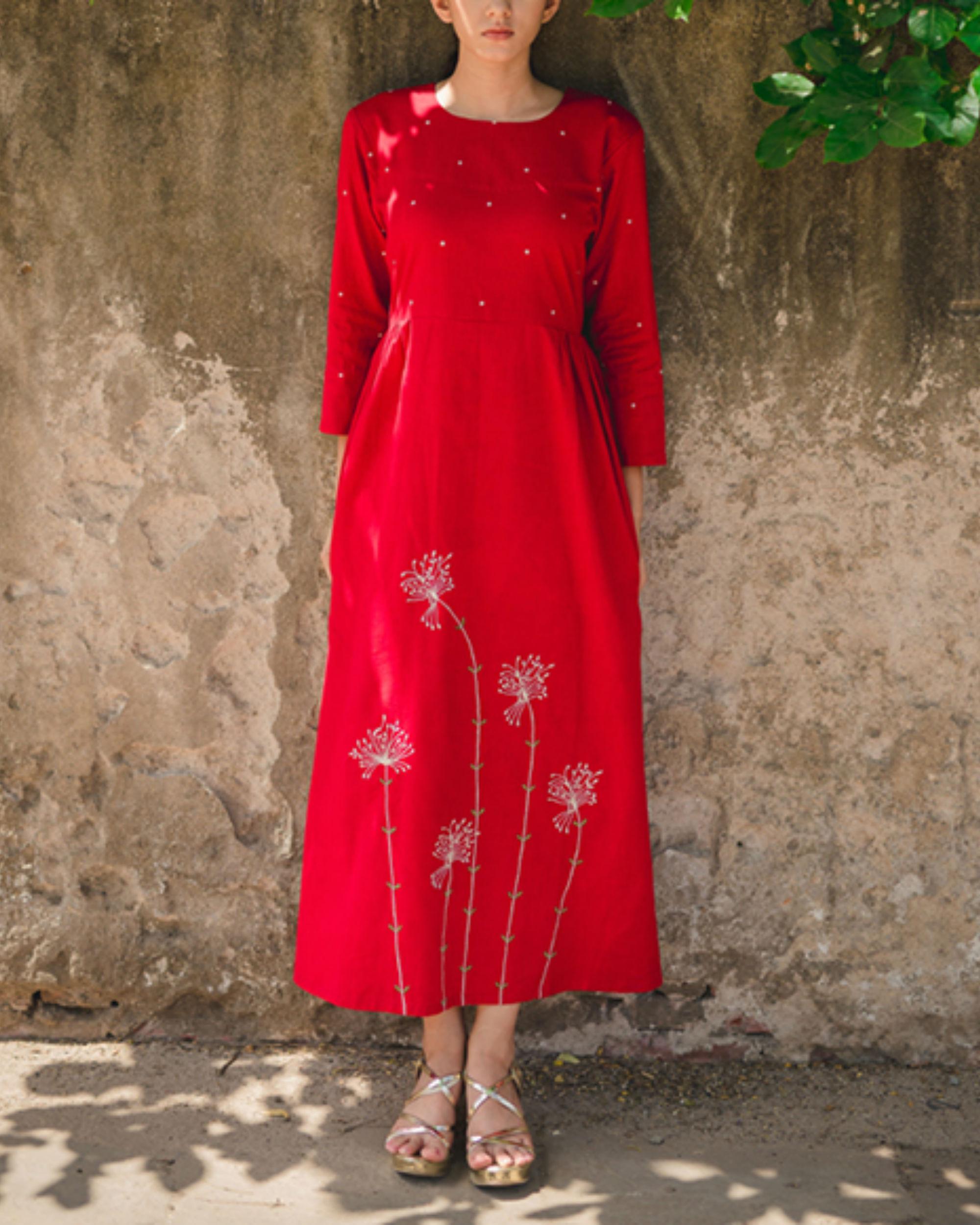 Red Dandelion Side Gathered Dress