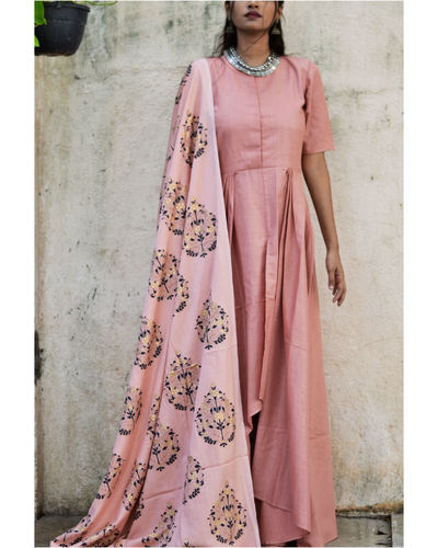 Peach High Low Dress With Dupatta