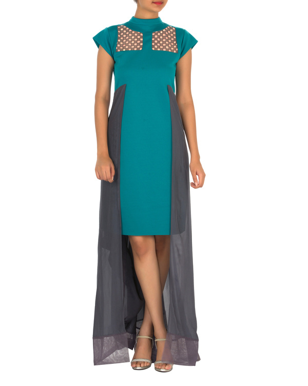 Two panelled aqua green and grey gown