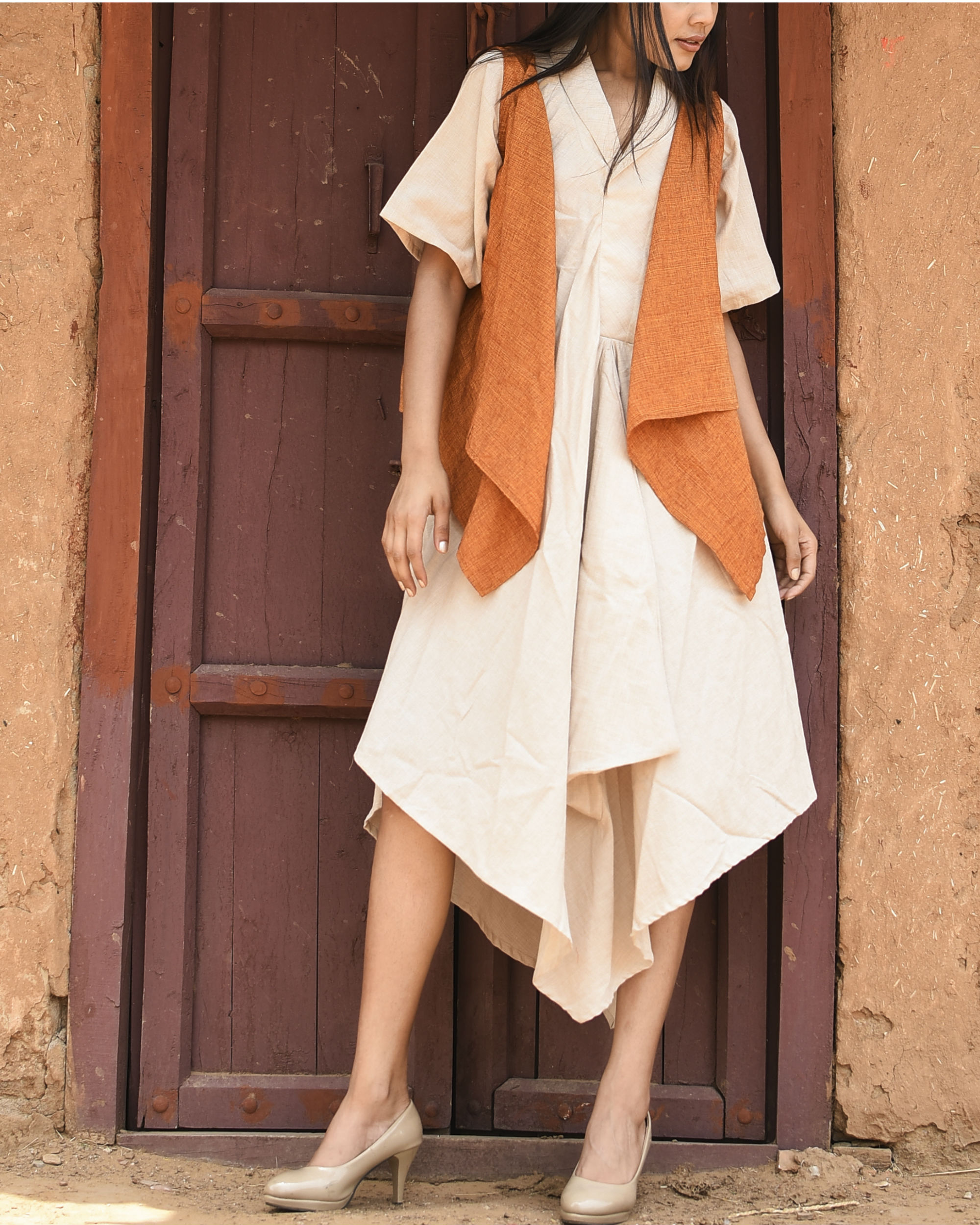 Orange and ivory fly maxi