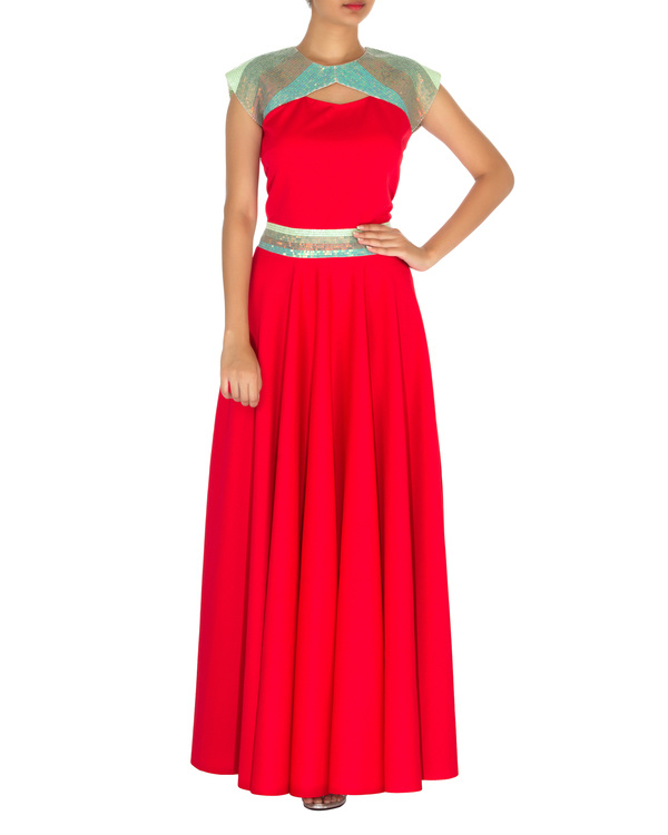 Red gown with straight fit
