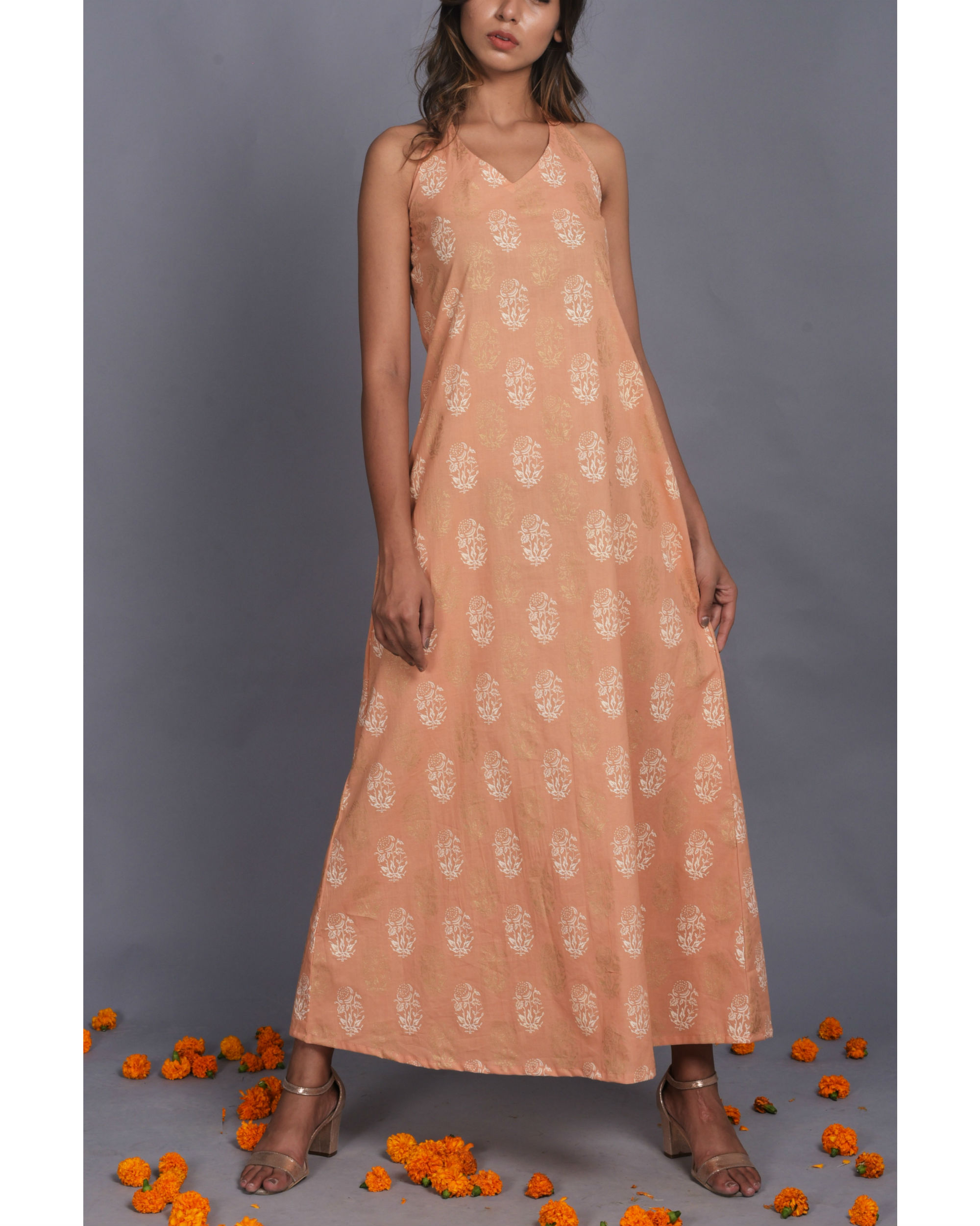 Peach Halter Dress