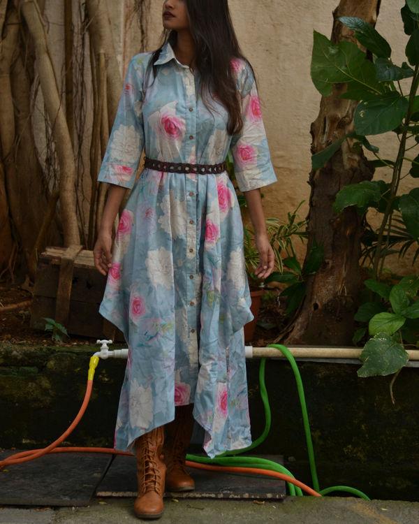 Blue Floral Button Up Dress