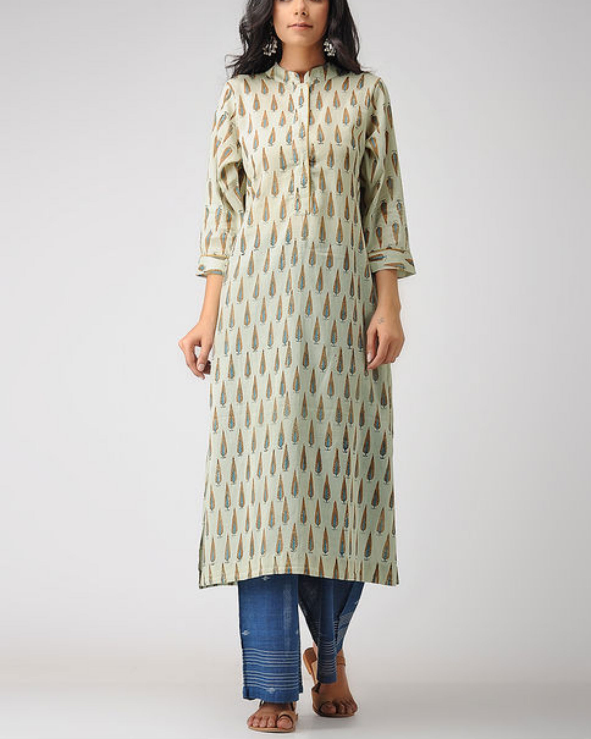 Brown leaf kurta