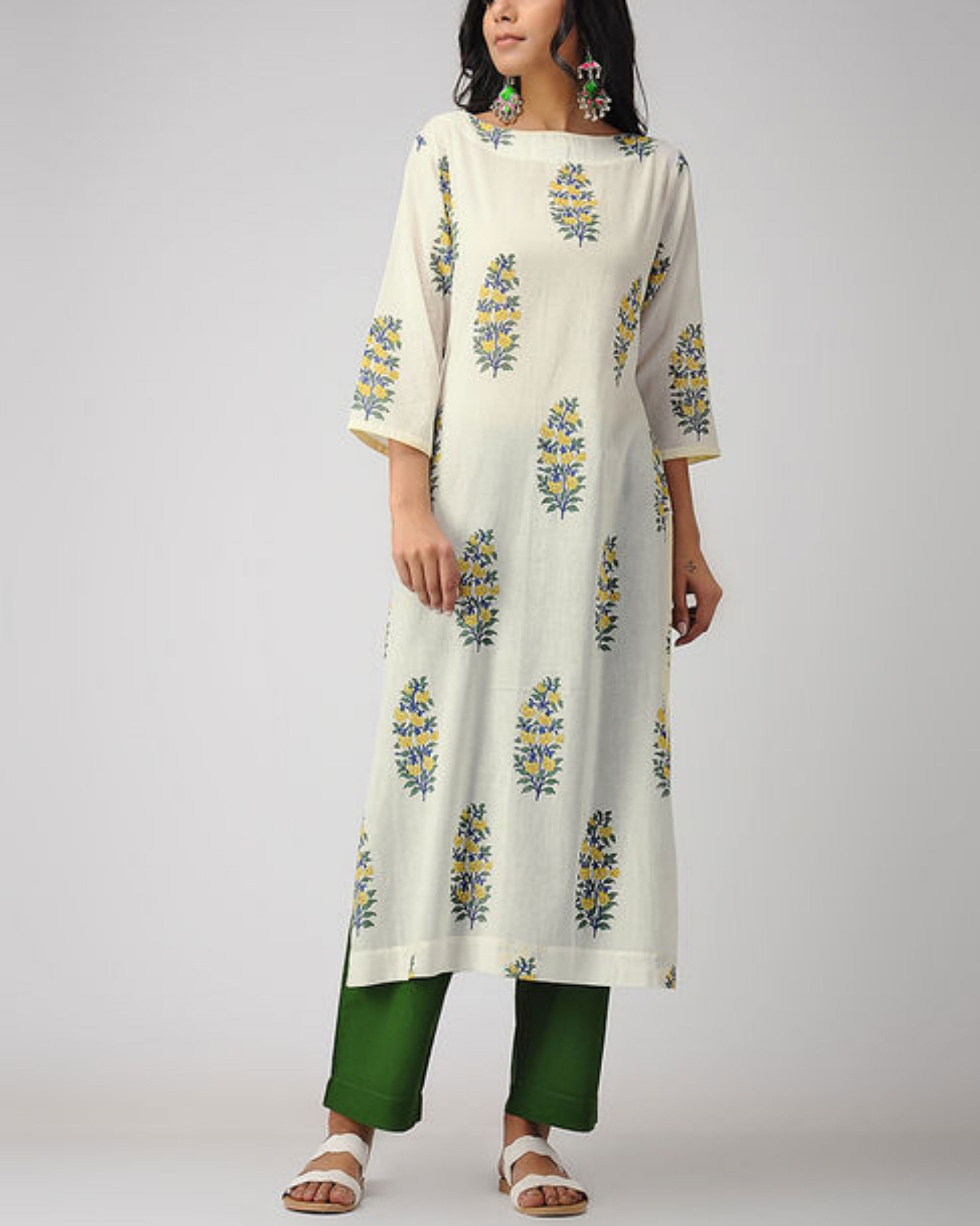 Ivory printed kurta