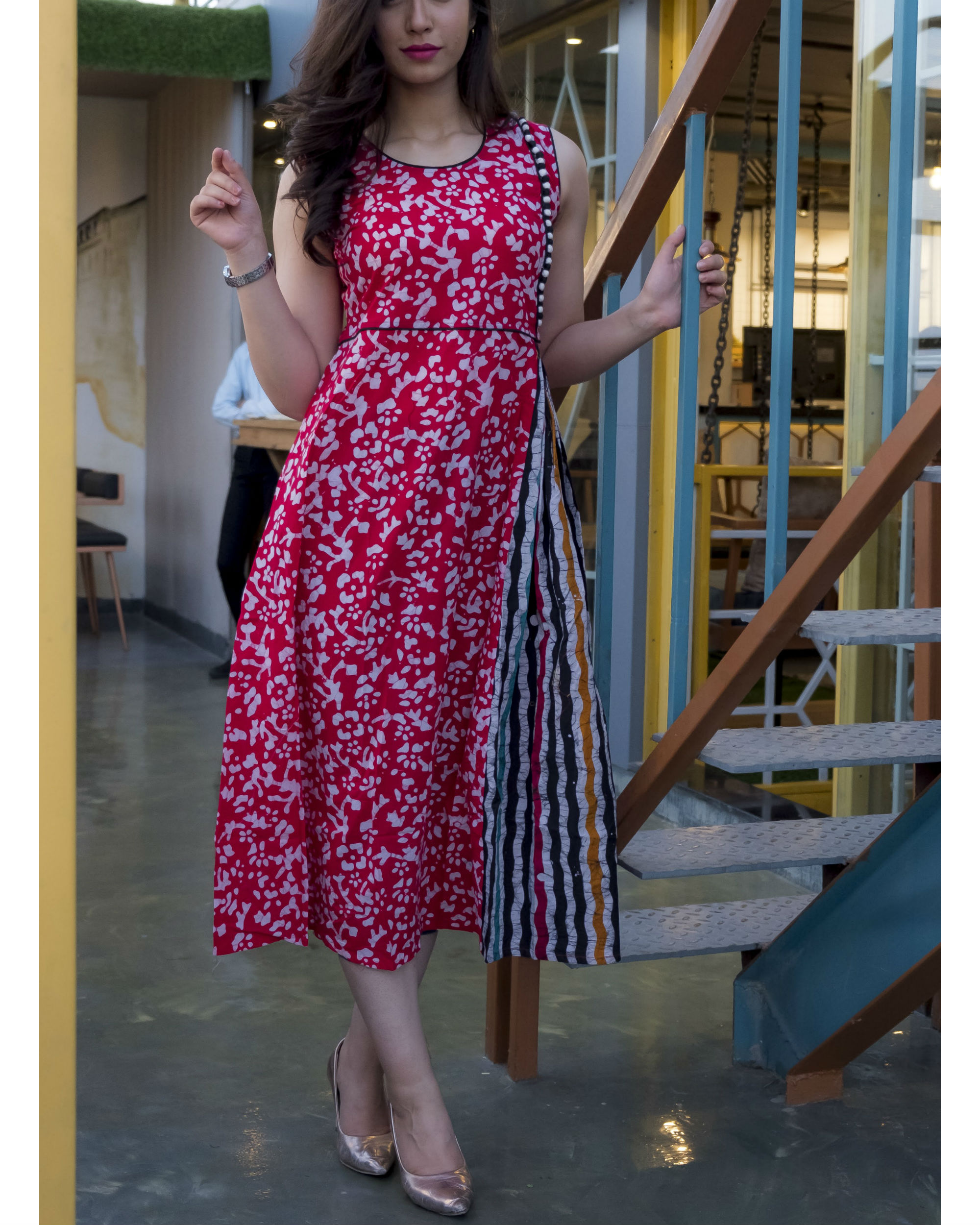 Pink Textured Batik Dress By Fashion Floor India