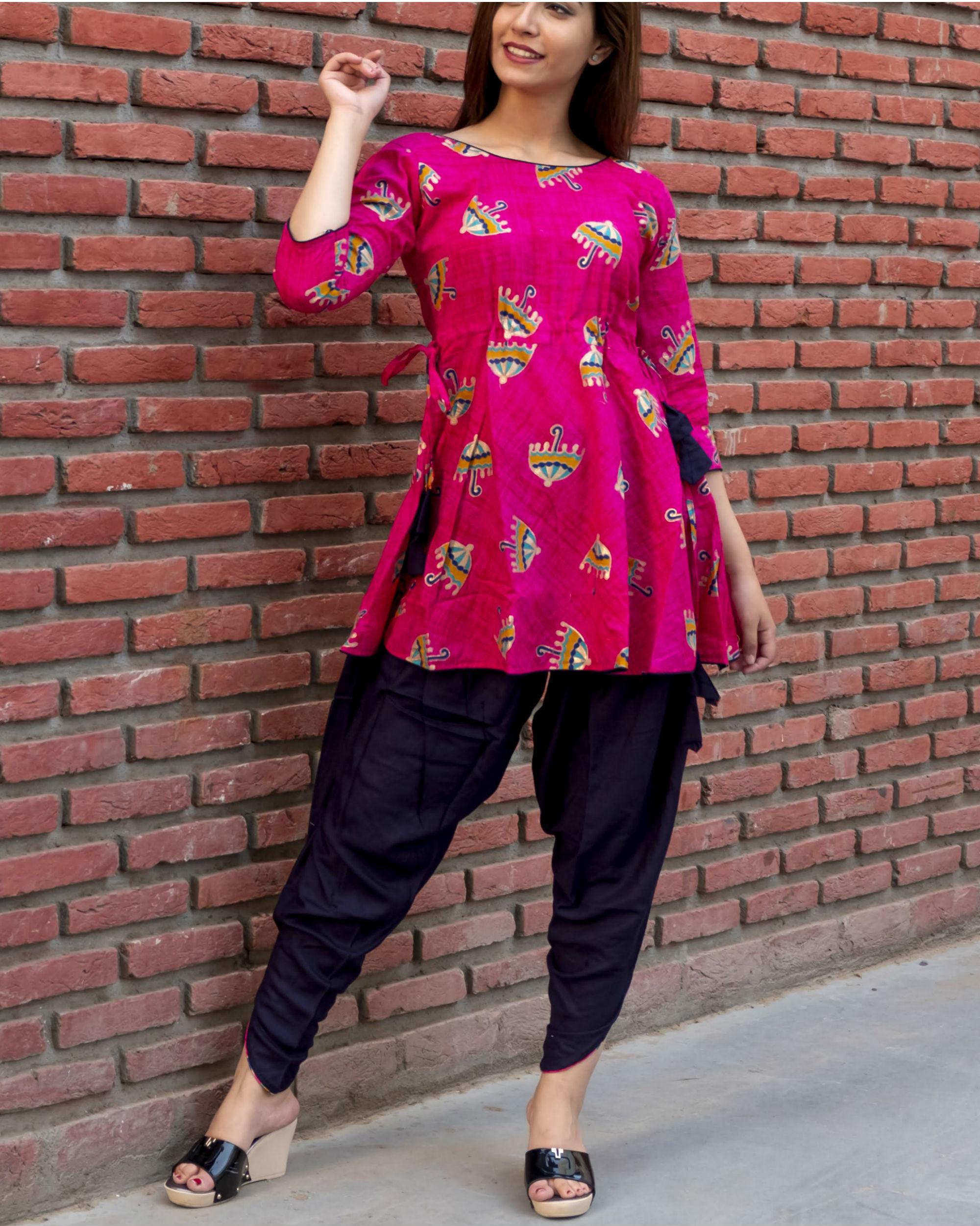 f9ed39ad33 Pink dhoti kurta set by Fashion Floor India   The Secret Label