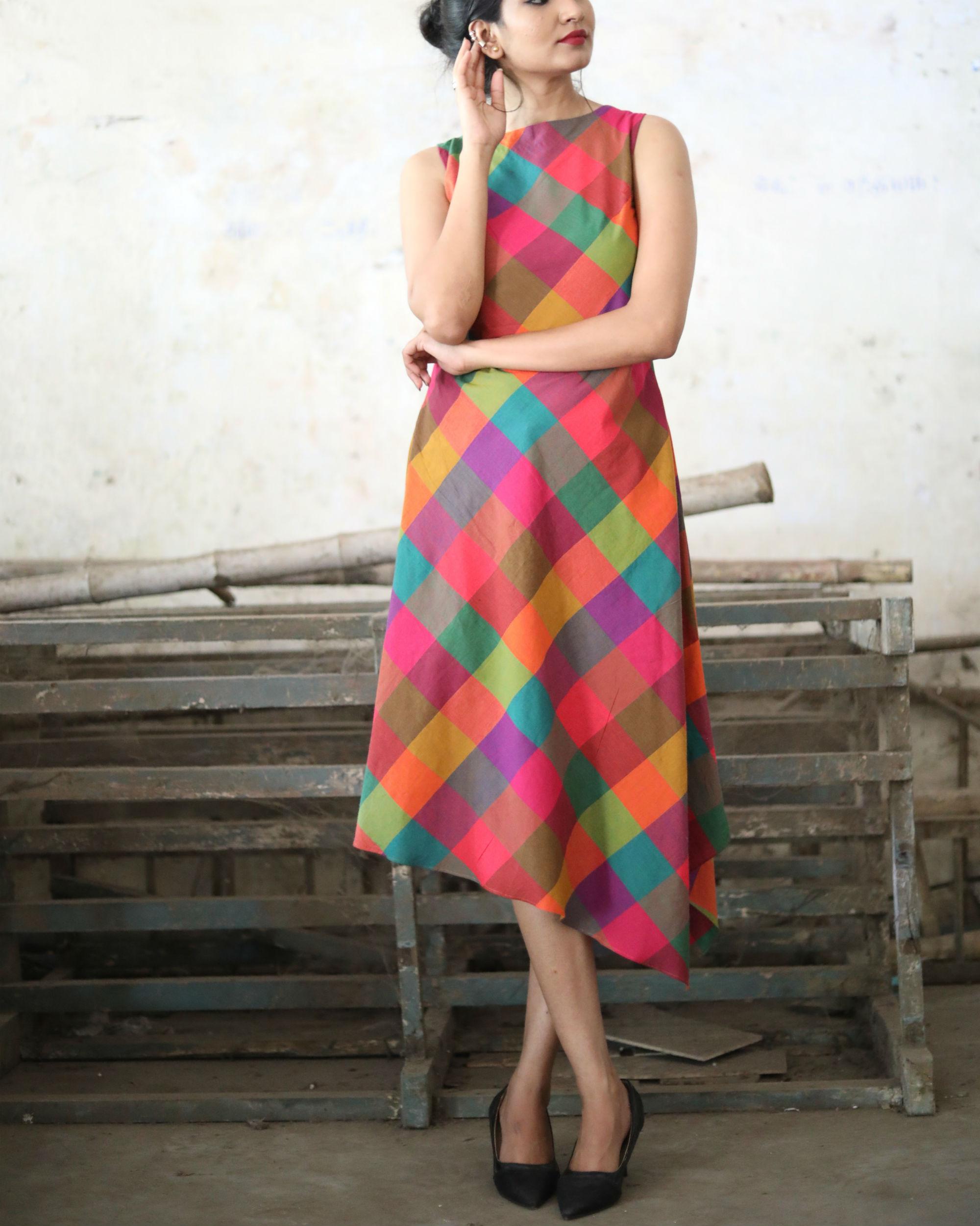 Checks asymmetric dress