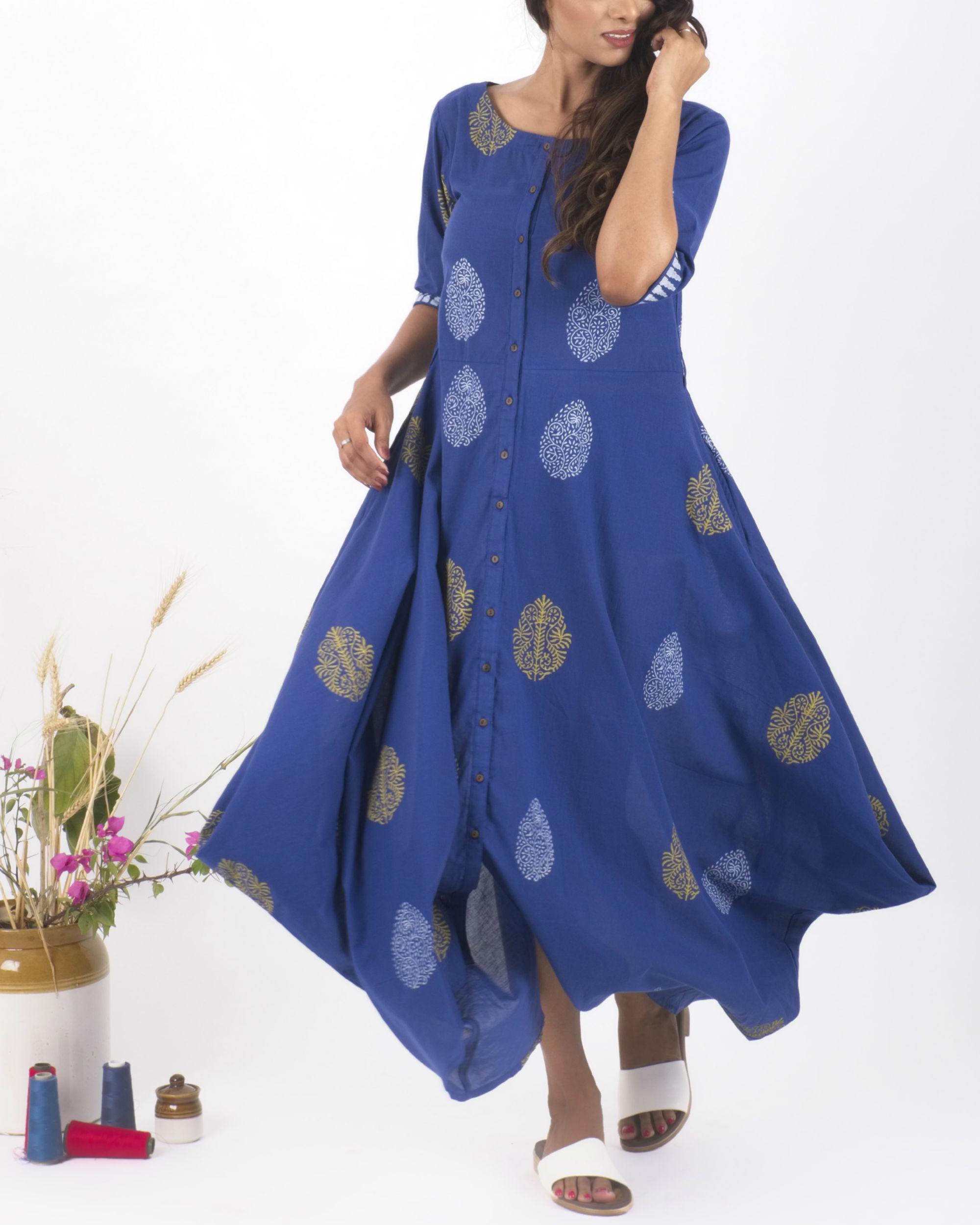 Blue hand block print dress