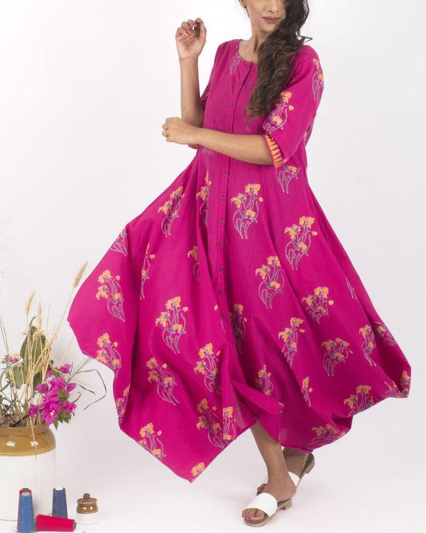 Pink hand block print dress