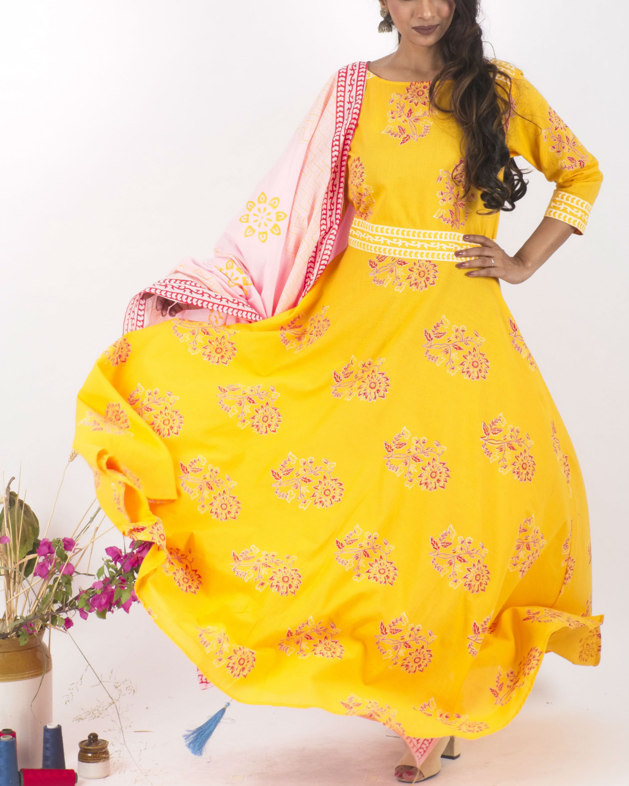 Yellow flared dress with dupatta