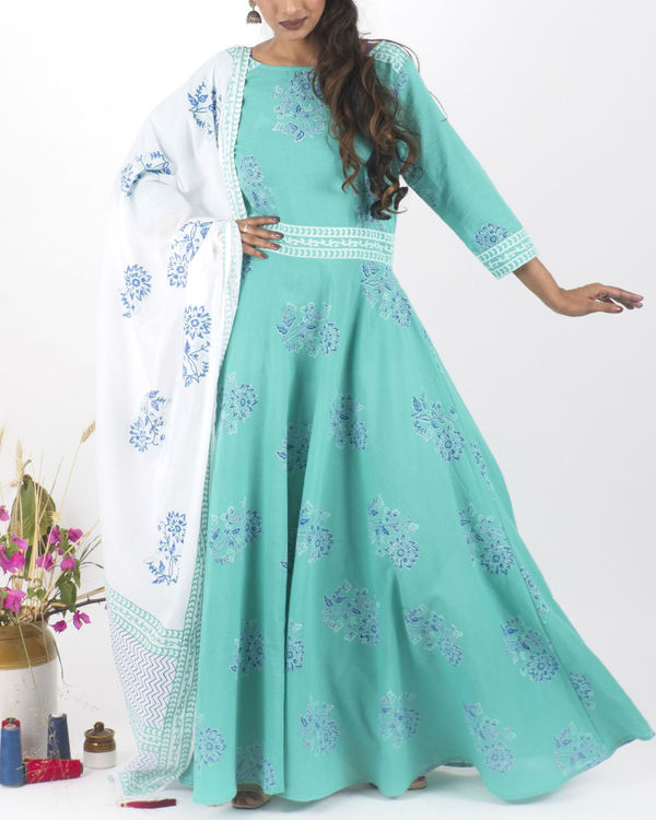 Mint creme dress with  dupatta