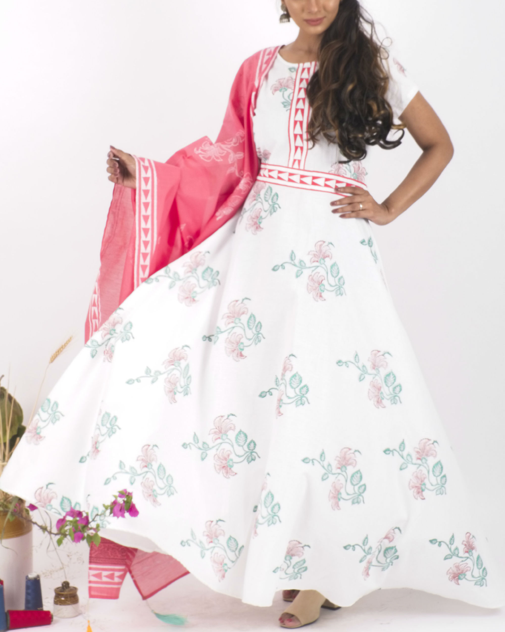 White floral dress with pink dupatta
