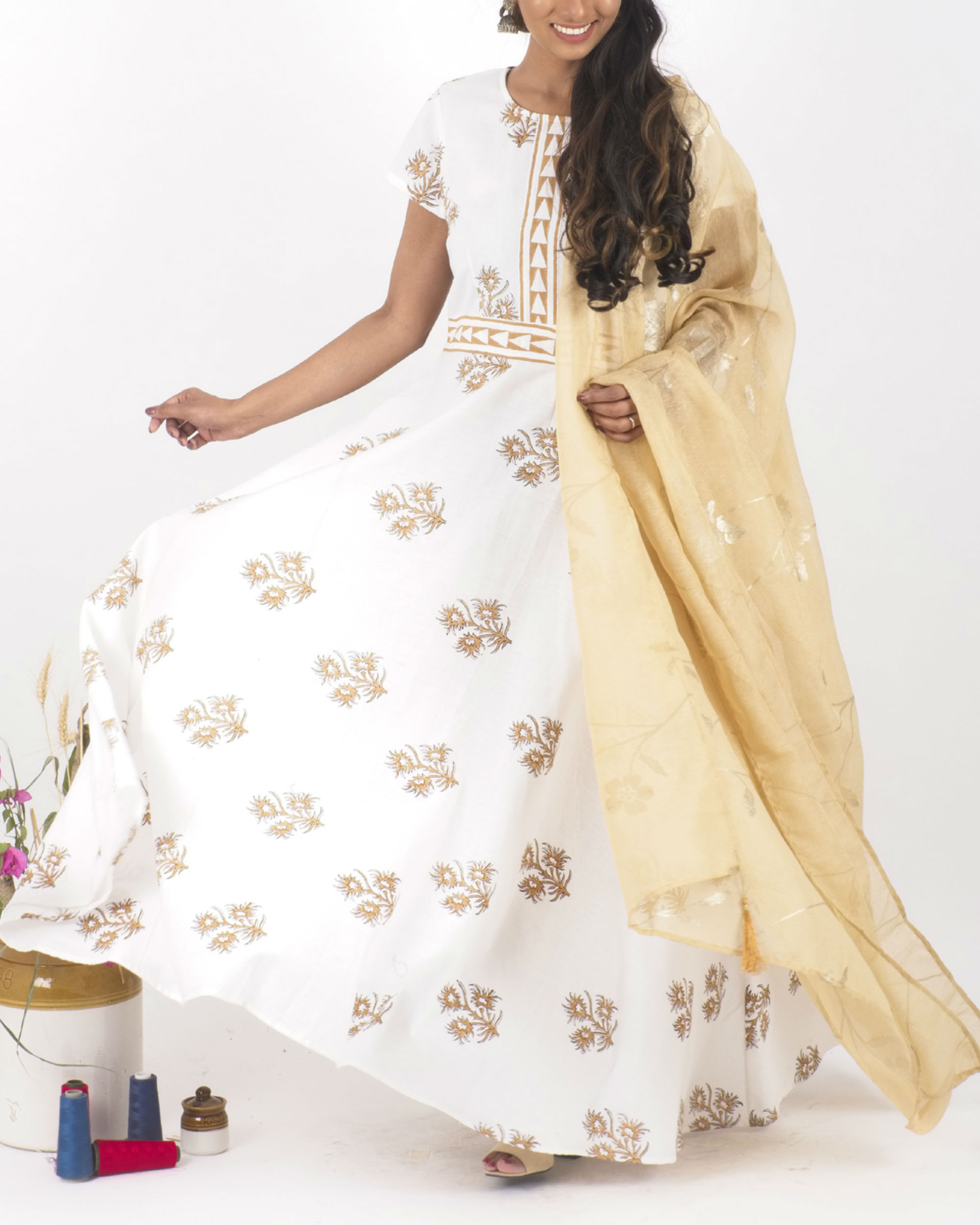 Desert bloom dress with dupatta