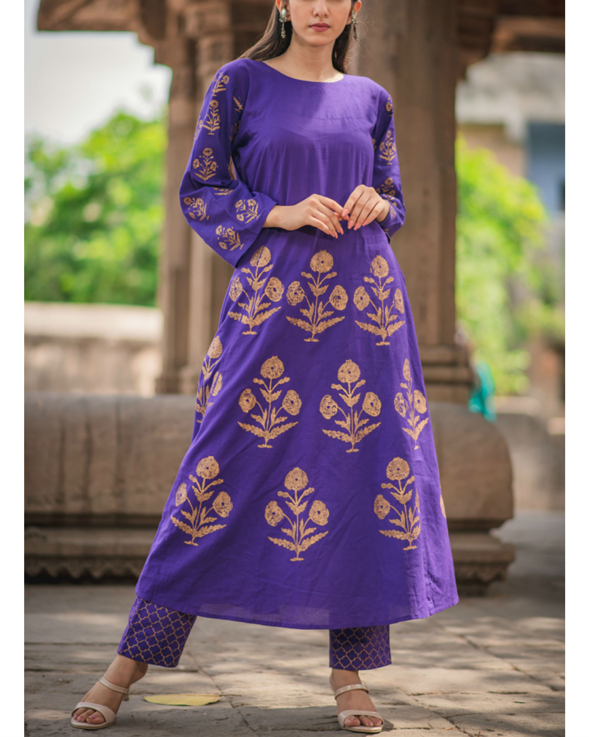 Purple printed anarkali
