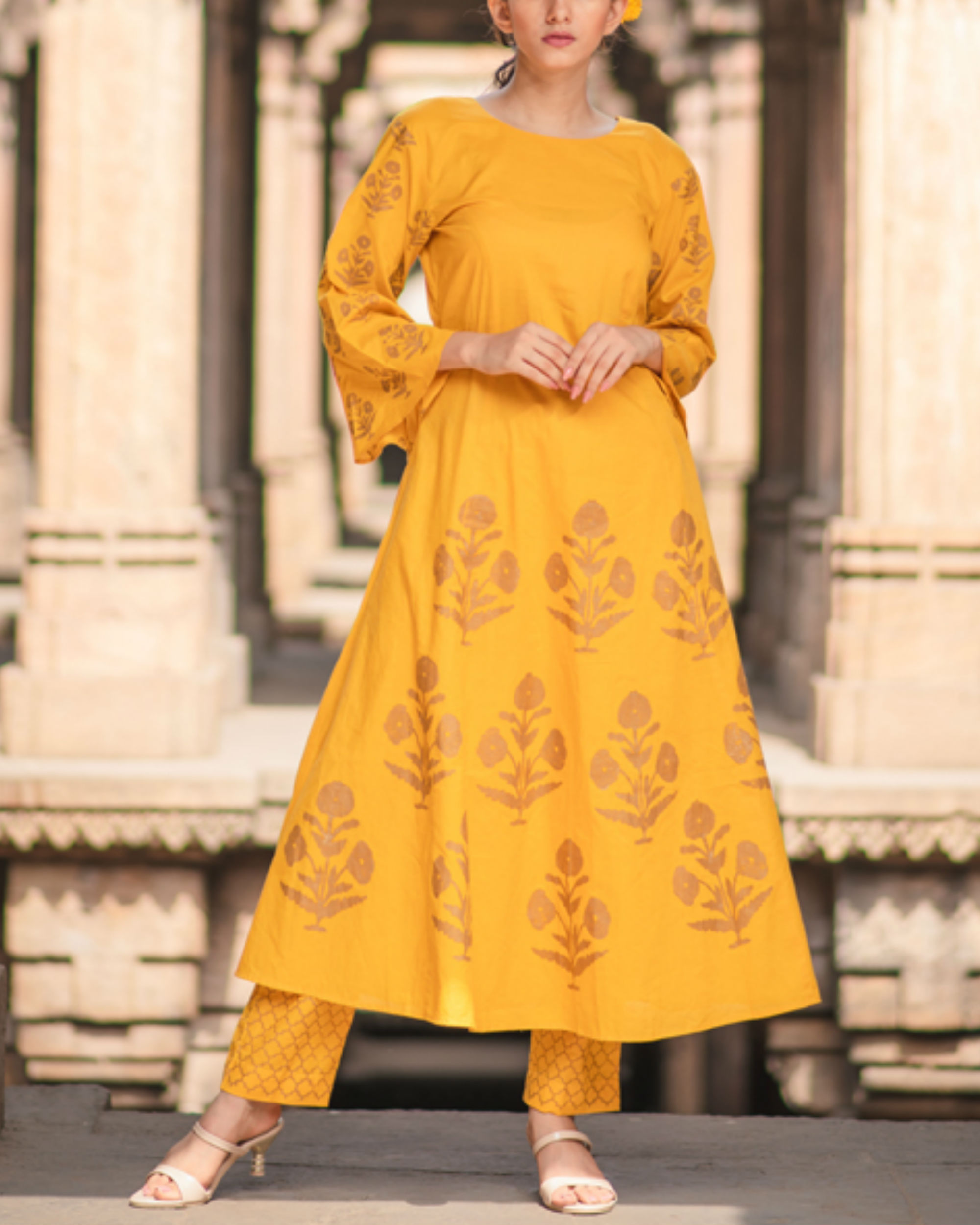 Mustard anarkali and pant set
