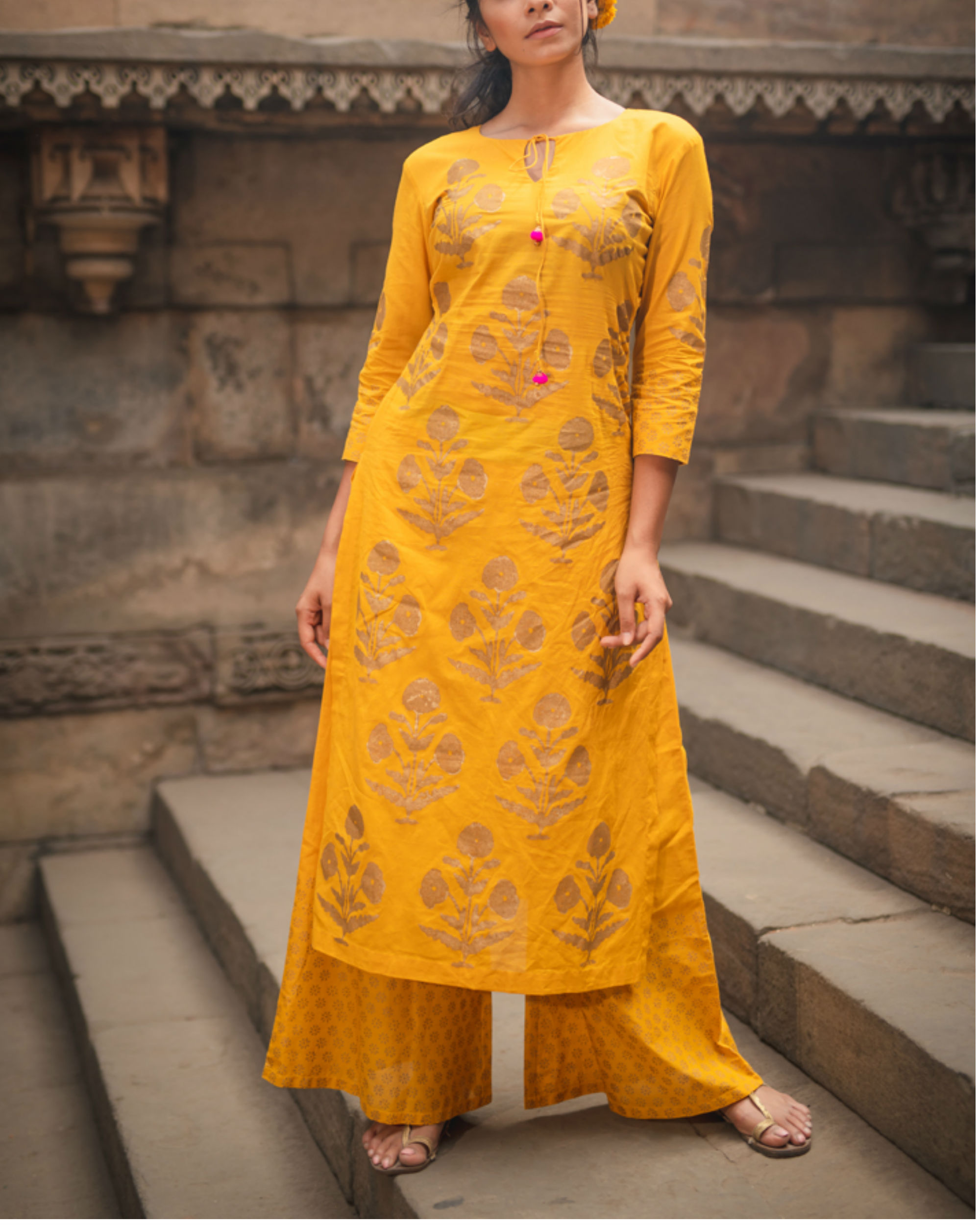 Mustard Block Printed Duo Set