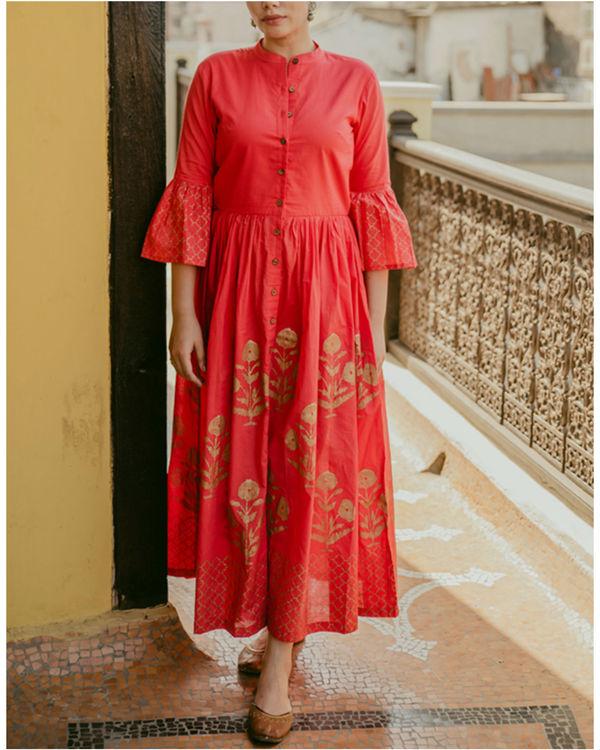 Block Printed Red Dress