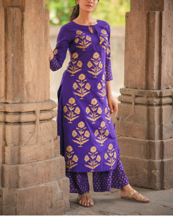 Purple Block Printed Kurta