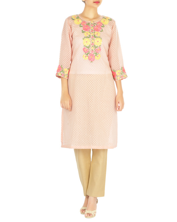 Pink marigold embroidered tunic with palazzo pants