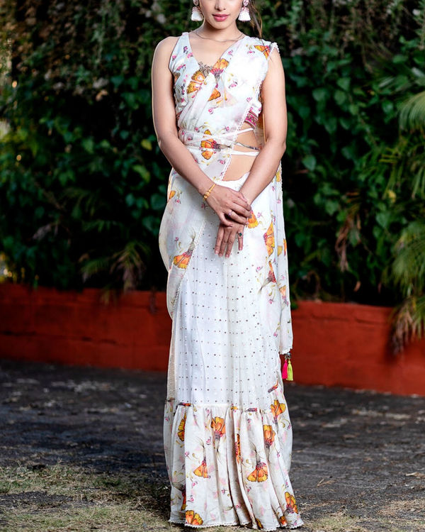 Offwhite printed saree with embroidered blouse