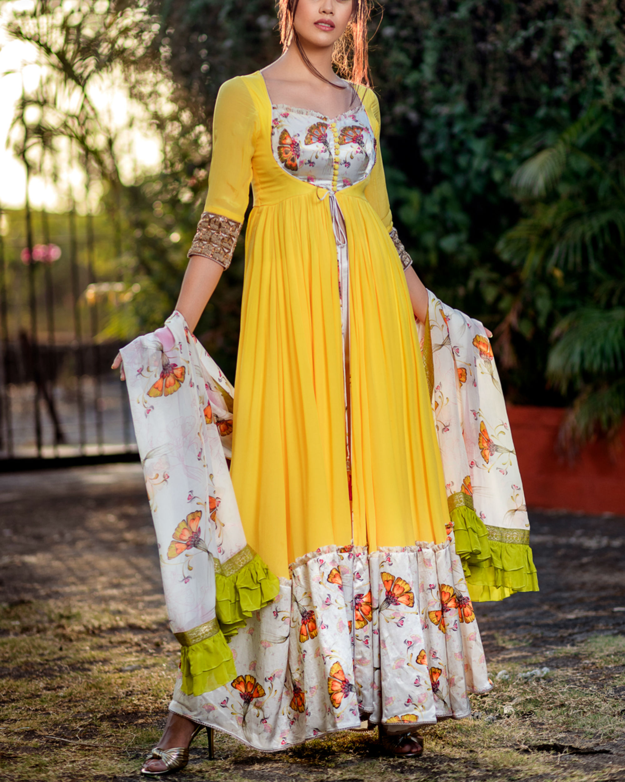 Yellow and offwhite printed anarkali set