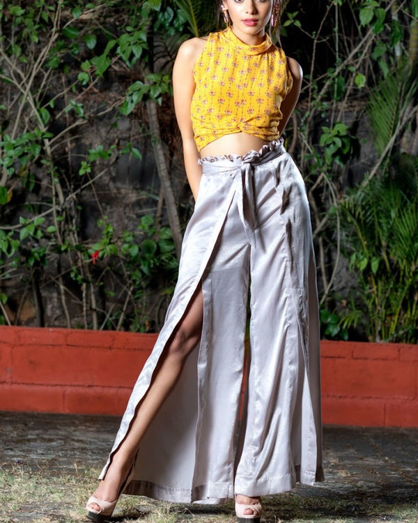 Yellow printed crop top with pallazos