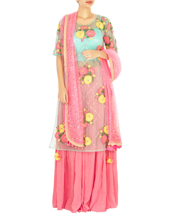 Turquoise and pink lehenga set with marigold flower work