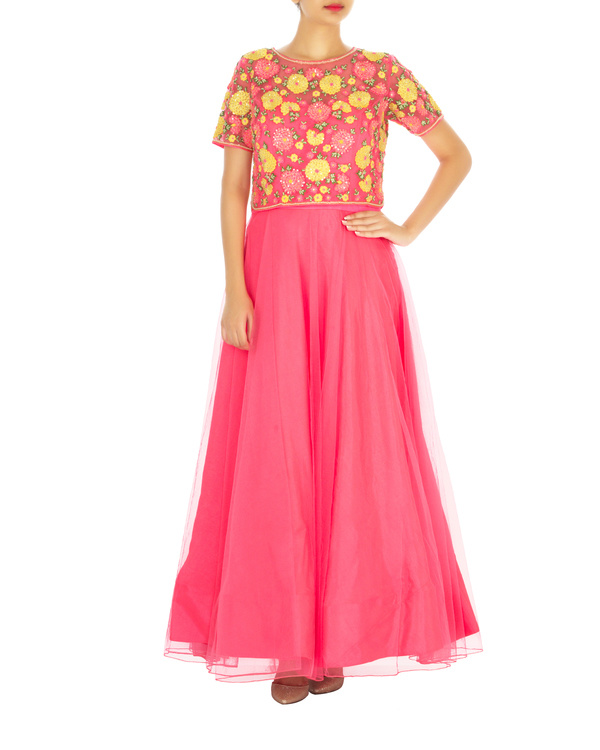 Hot pink anarkali set with embroidered shirt top