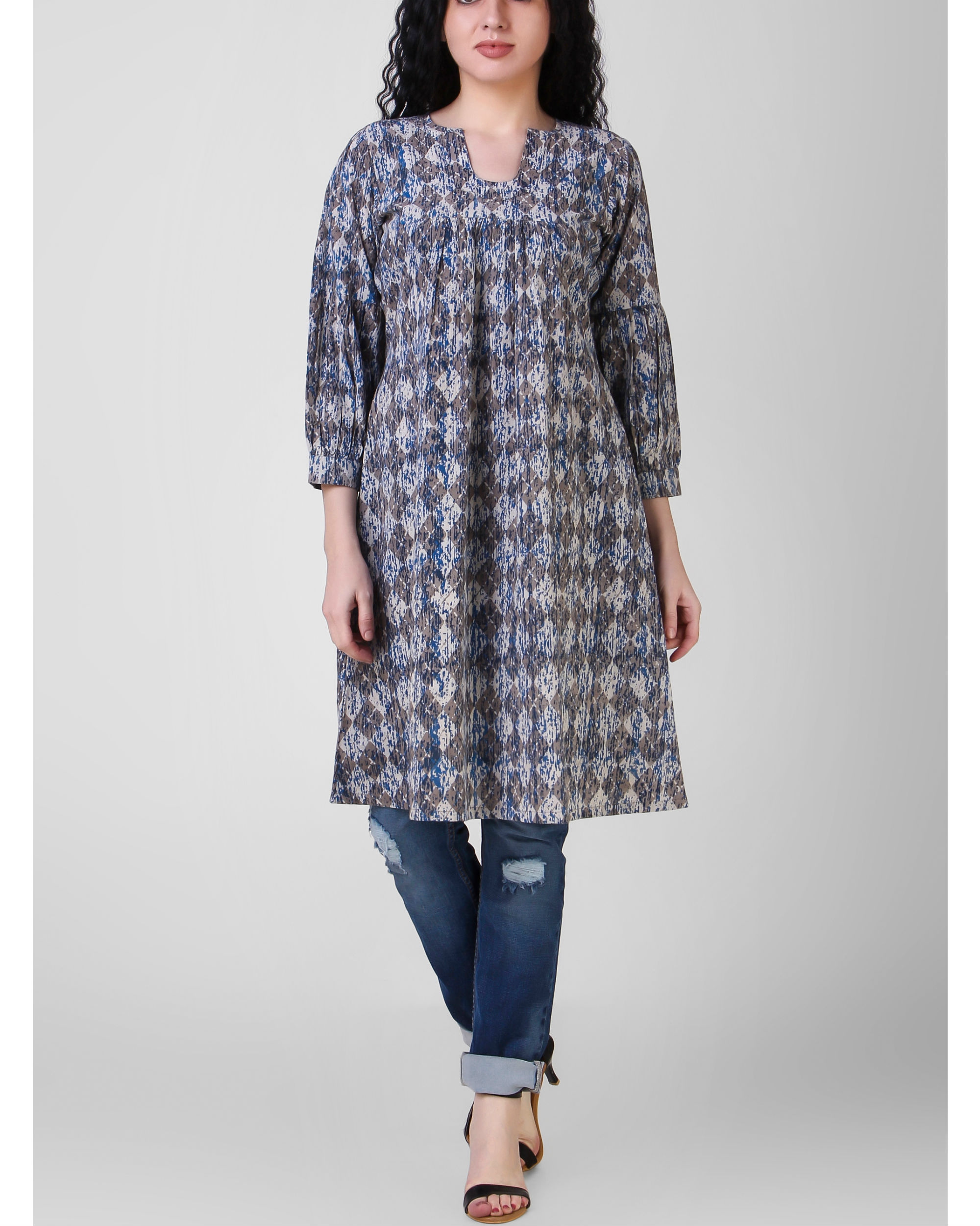 Indigo gathered tunic