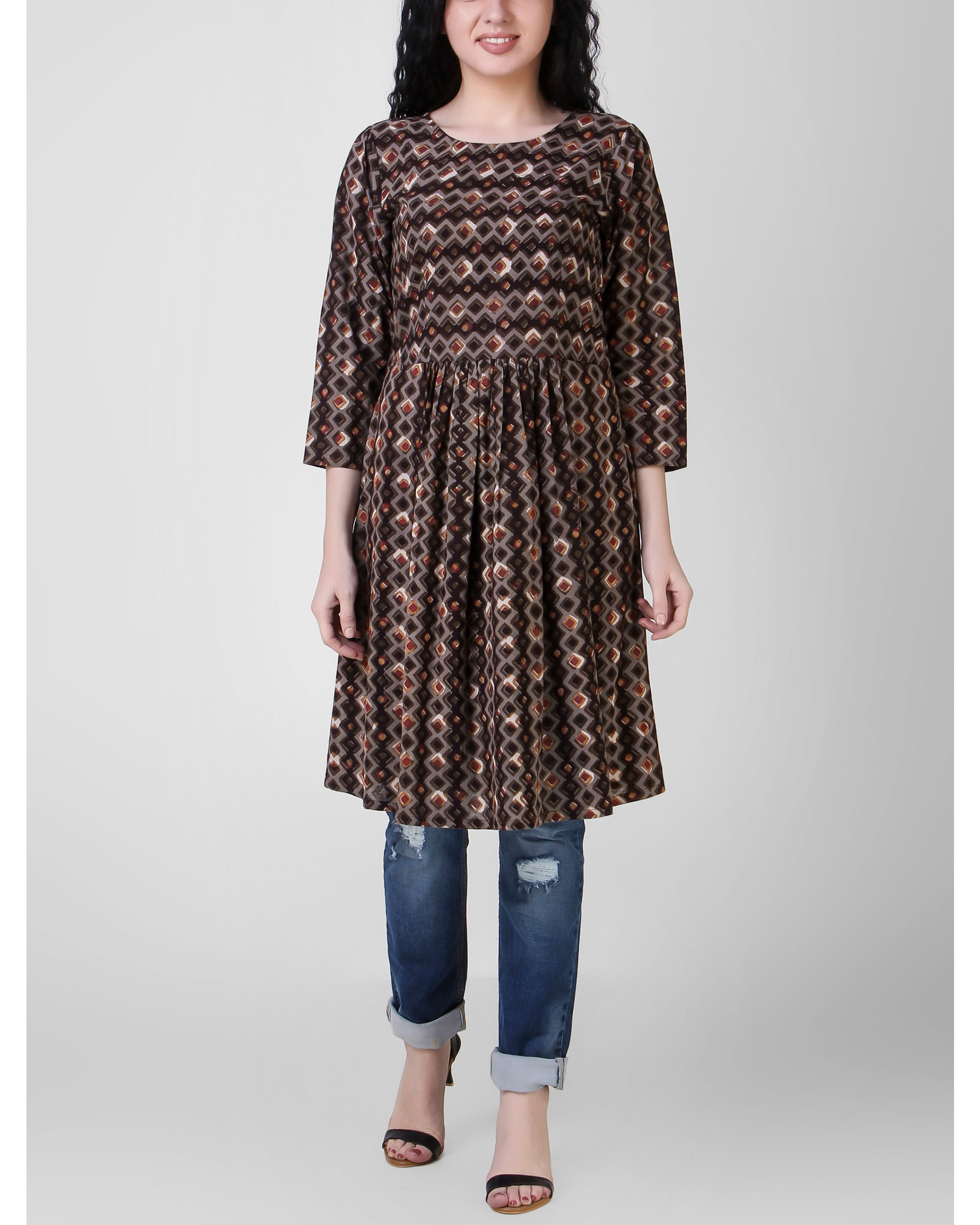 Brown gathered tunic