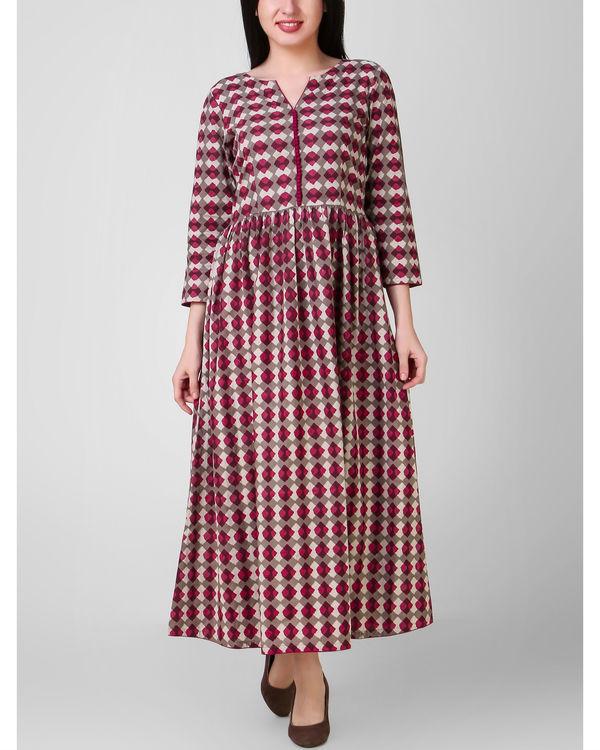 Red grey dabu dress