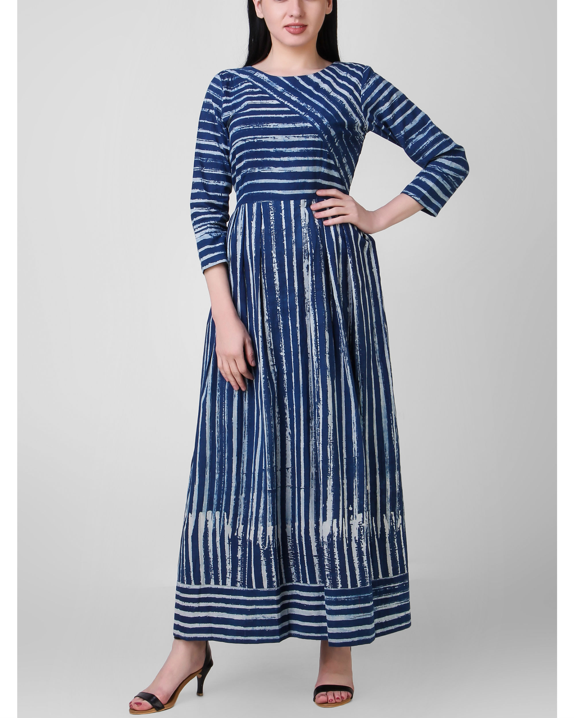 Indigo dabu striped dress