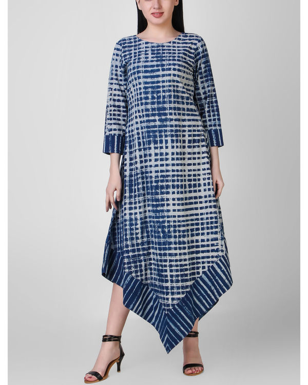 Indigo dabu asymmetric dress