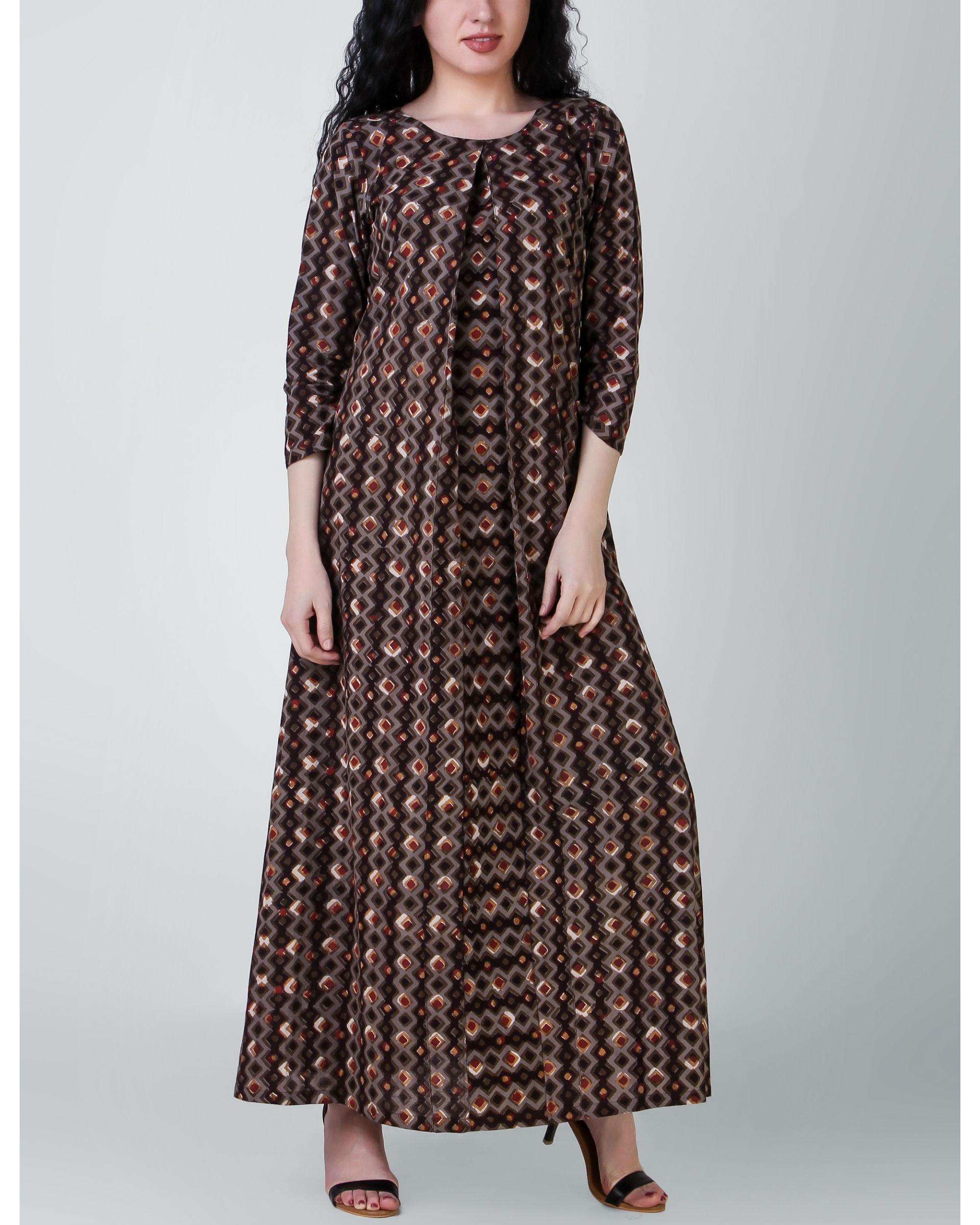 Brown dabu cotton dress