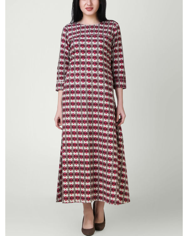 Red grey pin tuck dress