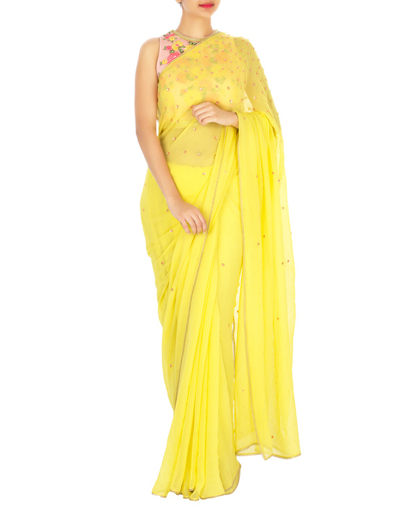Neon yellow sari with pink embroidered blouse