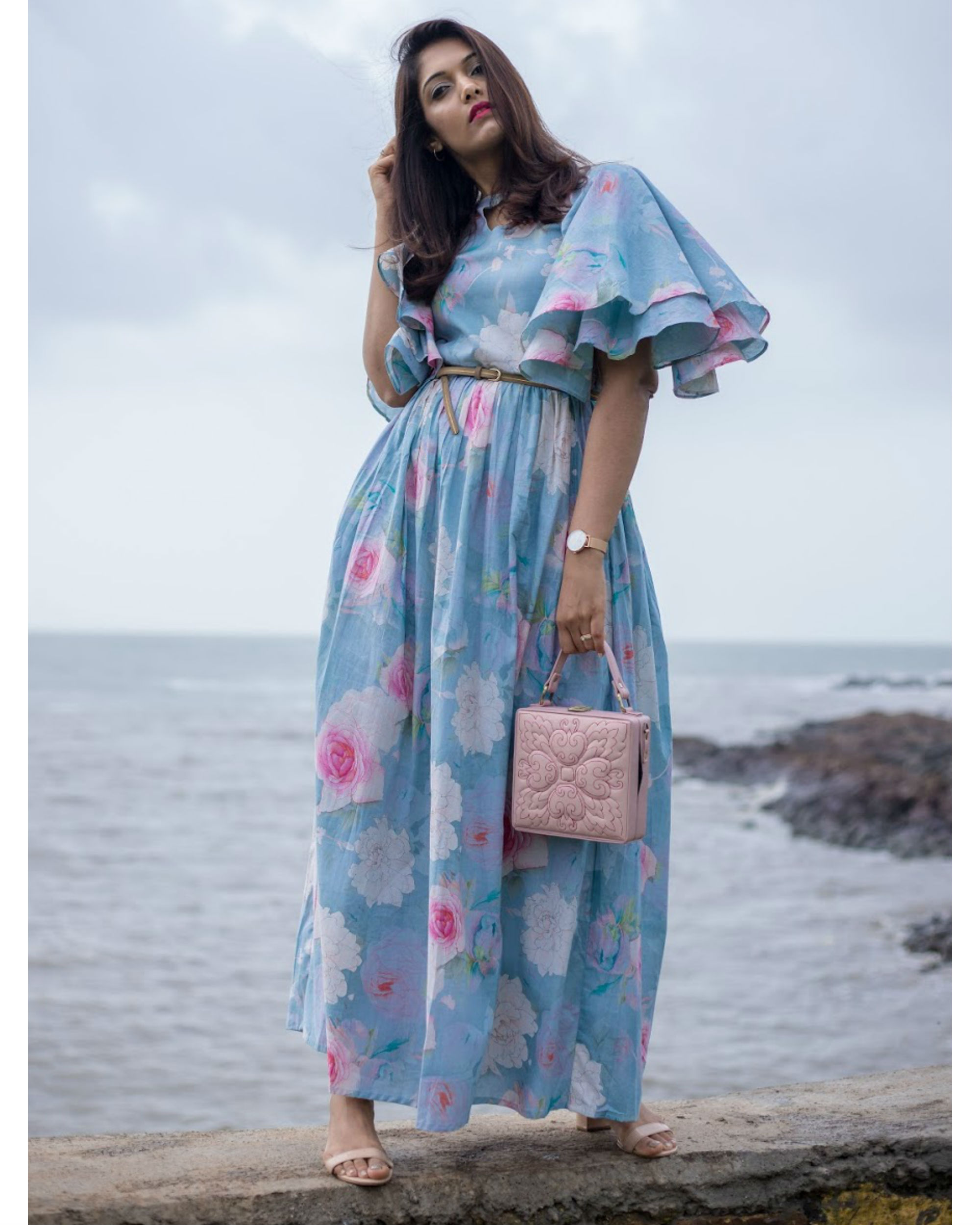 Breezy Blue Ruffle Dress