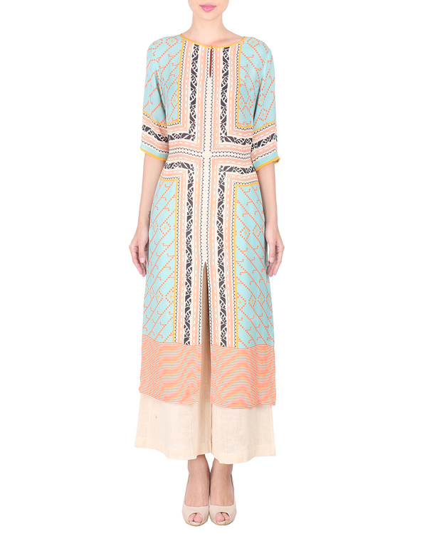 Double georgette long tunic with palazzos