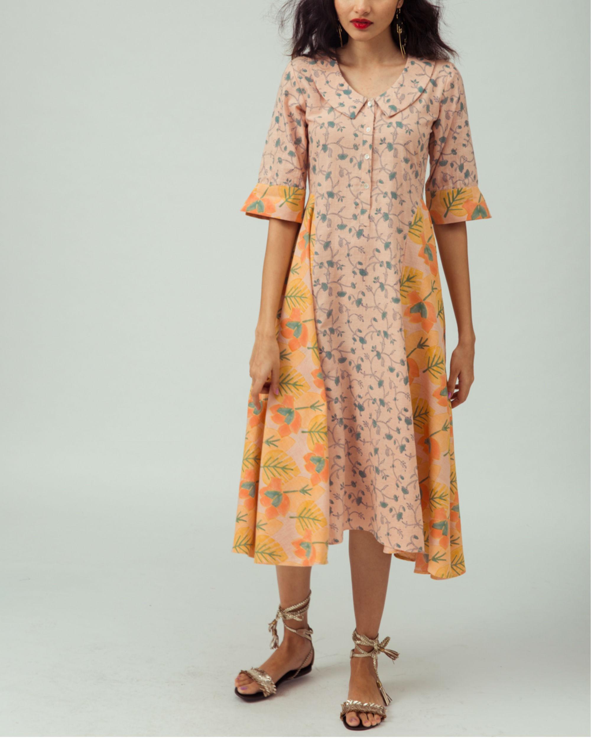 Salmon Starflower Kurta Dress