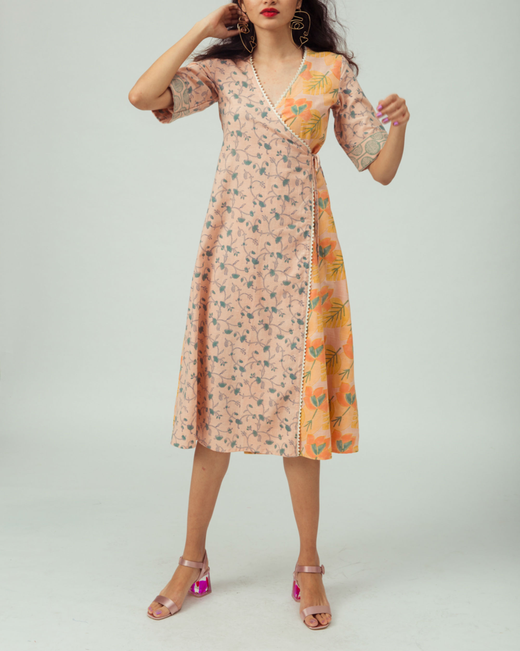 Salmon Bougainvillea Wrap Dress