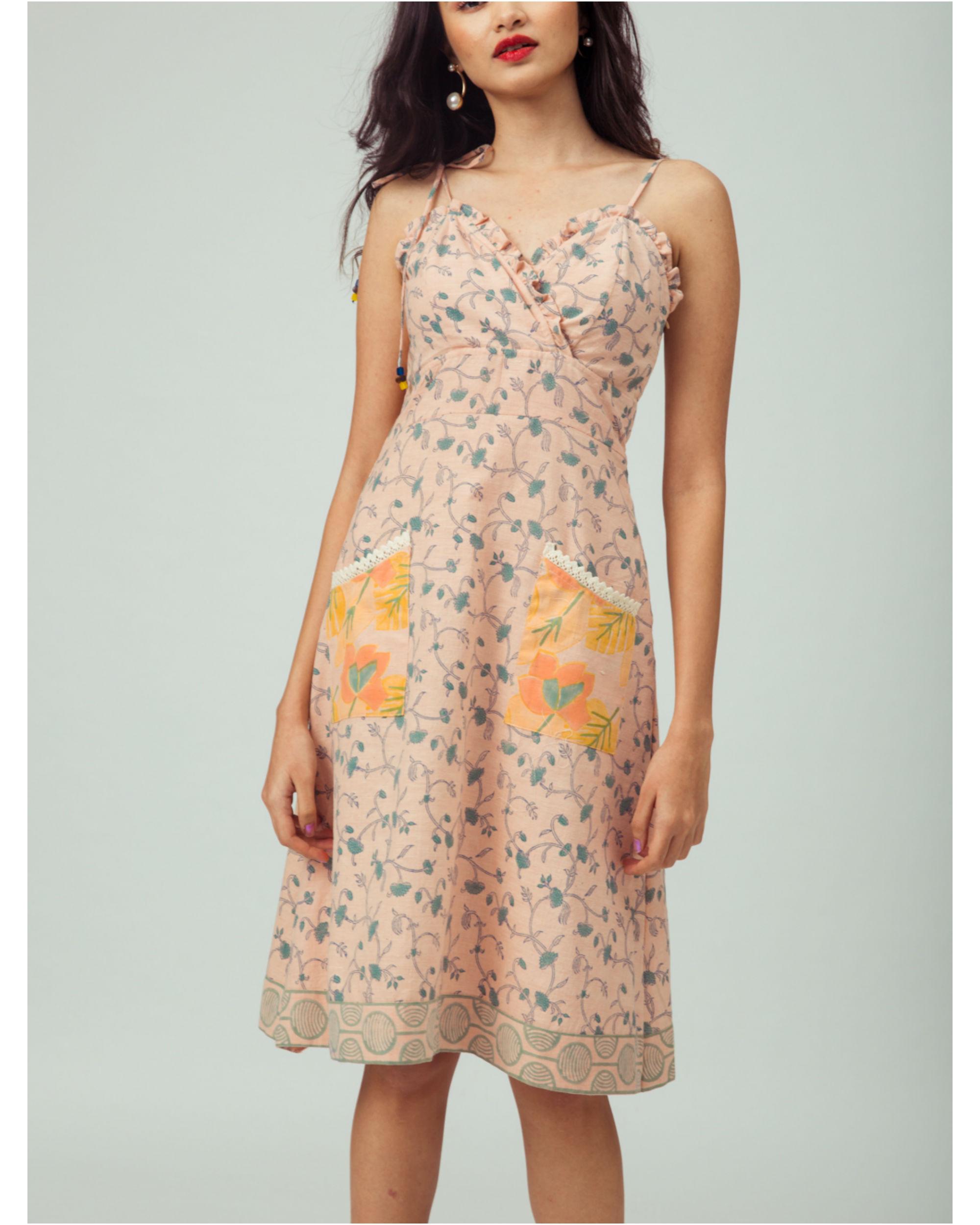 Salmon Starflower Strappy Dress
