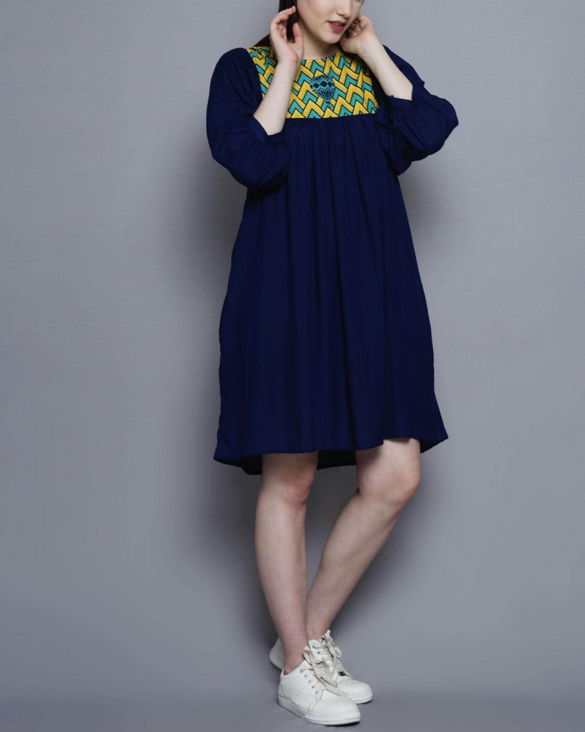 Printed yoke gathered dress
