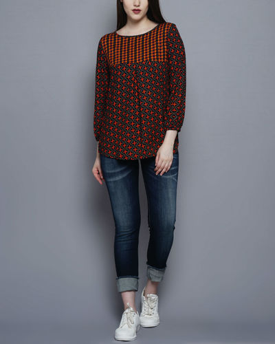 Multicolored Yoke Top