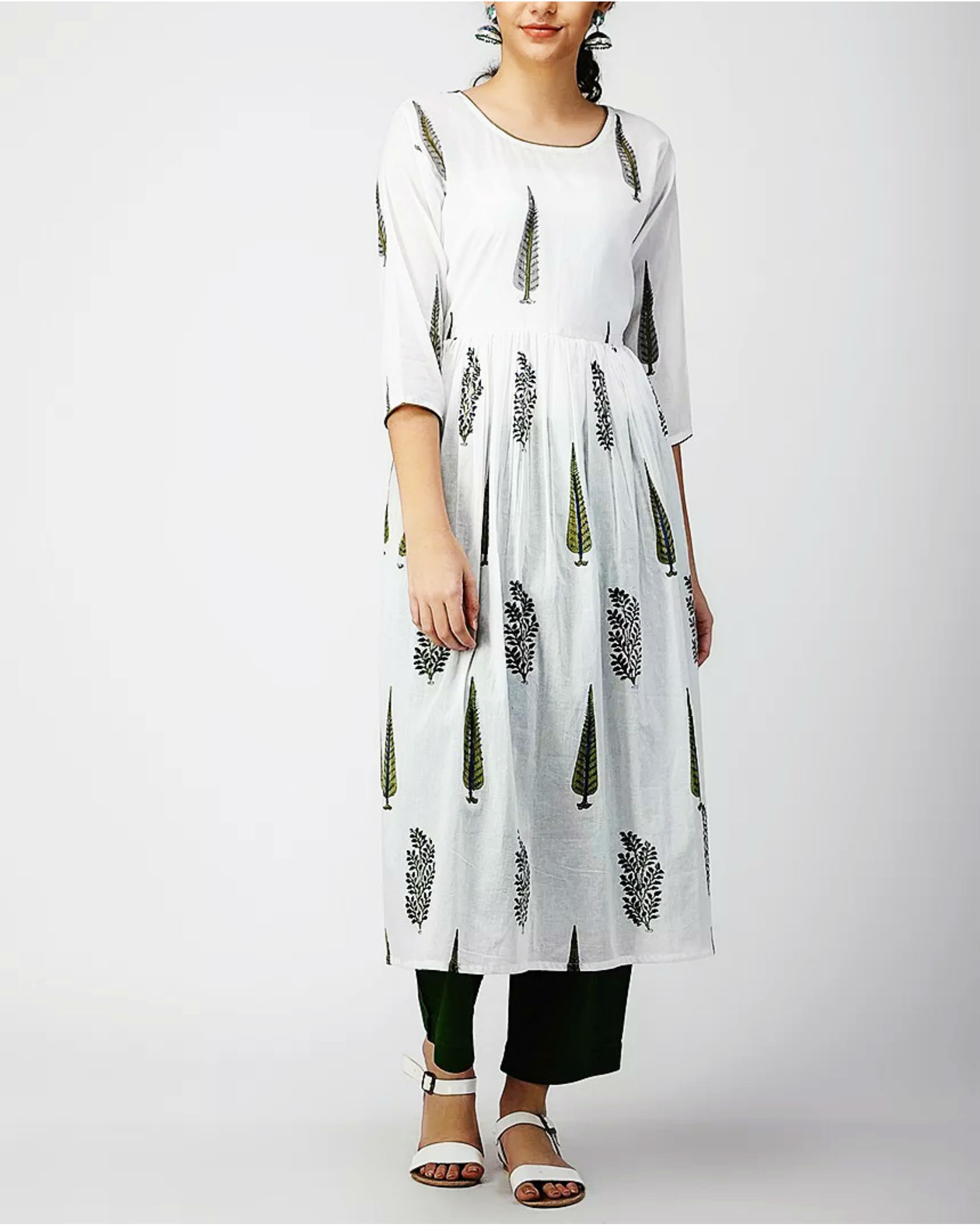 Ivory Fit and Flare Kurta
