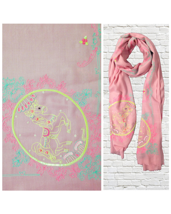 Pink stole with vintage horse motif