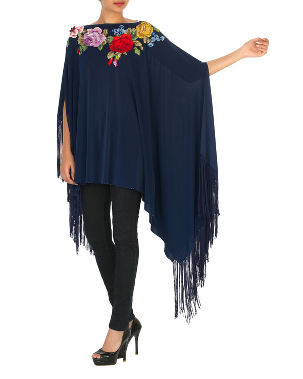 Navy embroidered poncho with tassels