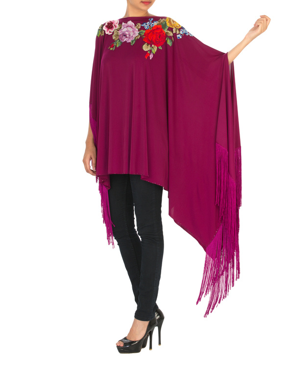 Orchid embroidered poncho with tassels