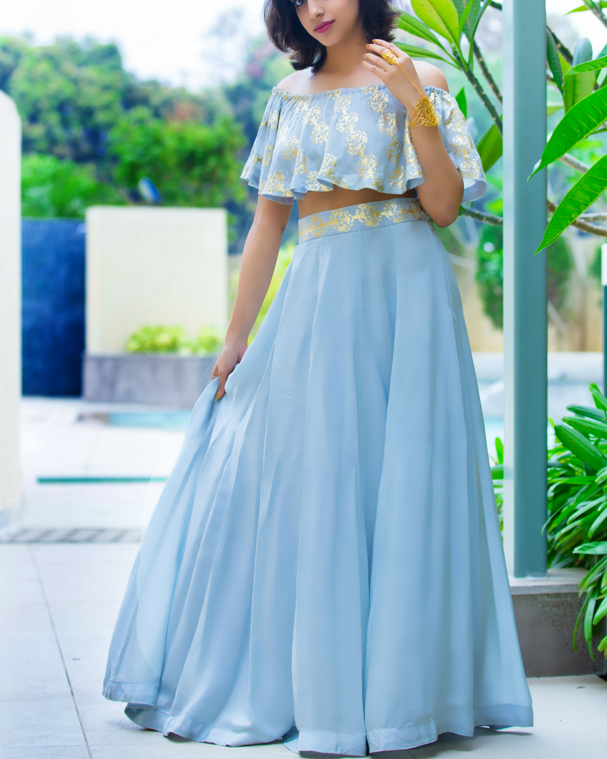 eb65b79215b Grey off shoulder lehenga by Label Nitika | The Secret Label